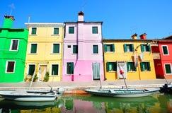 Toylike Burano island houses (Venice) Stock Photo