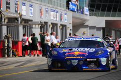 TOYO TIRES 24H of Dubai 2008. Dubai, UAE - JANUARY 12, 2008: The Ferrari 430 GTC,  John Sinders, Joe Macari, Adrian Newey (Red Bull F1), Robert Wilson, in action Royalty Free Stock Photography