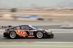 TOYO TIRES 24H of Dubai 2008. Dubai, UAE - JANUARY 12, 2008: Porsche RSR from VIP Pet foods Team, the TOYO TIRES 24H of Dubai 2008's winner, after 504 laps Royalty Free Stock Photo