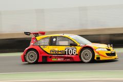 TOYO TIRES 24H of Dubai 2008. Dubai, UAE - JANUARY 12, 2008: The Renault Megane Trophy from AutoMoto Chervonenko Team (finished 8th in class), in action at the Stock Photo