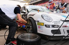 TOYO TIRES 24H of Dubai 2008. Dubai, UAE - JANUARY 12, 2008: The Porsche 997 GT3 Cup from BleekemolenTeam (finished 2nd in class), in a pitstop at the TOYO TIRES Stock Images