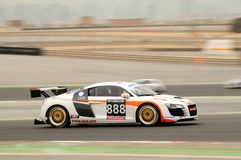 TOYO TIRES 24H of Dubai 2008. Dubai, UAE - JANUARY 12, 2008: The Audi R8, in action at the TOYO TIRES 24H of Dubai 2008. This was the racing debut of the R8 Stock Photo