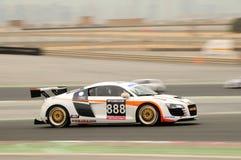 TOYO TIRES 24H of Dubai 2008. Dubai, UAE - JANUARY 12, 2008: The Audi R8, in action at the TOYO TIRES 24H of Dubai 2008. This was the racing debut of the R8 stock photo
