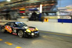 TOYO TIRES 24H of Dubai 2008. Dubai, UAE - JANUARY 12, 2008: Porsche RSR from VIP Pet foods Team, the TOYO TIRES 24H of Dubai 2008's winner, after 504 laps Royalty Free Stock Photography