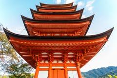 Toyokuni寺庙的五层塔在宫岛 库存图片