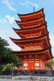 Toyokuni寺庙的五层塔在宫岛 免版税库存图片