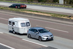 Toyota Auris with a caravan Stock Image