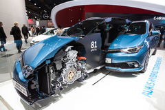 Toyota Auris Hybrid Cross Section at the IAA 2015. FRANKFURT, GERMANY - SEP 22: Toyota Auris Hybrid Touring Sports Cross Section at the IAA International Motor Stock Images