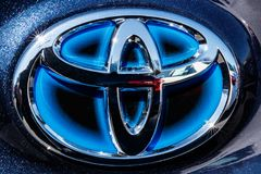 Indianapolis - Circa March 2018: Toyota blue hybrid vehicle logo and badge. Toyota is a Japanese auto manufacturer III. Toyota blue hybrid vehicle logo and badge stock photo