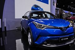 Toyota C-HR blue metal at motor expo. New hybrid car model Toyota C-HR blue metal front display at the 34th International Motor Expo Bangkok Thailand December Stock Images