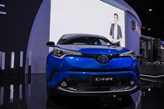 Toyota C-HR blue metal at motor expo. New hybrid car model Toyota C-HR blue metal front view display at the 34th International Motor Expo Bangkok Thailand Royalty Free Stock Photo