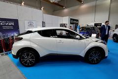 Toyota C- HR hybryd wystawiający przy MOTO przedstawieniem w Krakowskim Polska obrazy royalty free
