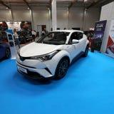 Toyota C- HR hybryd wystawiający przy MOTO przedstawieniem w Krakowskim Polska obrazy stock