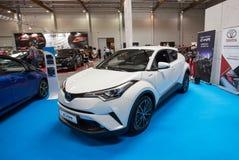 Toyota C- HR hybryd wystawiający przy MOTO przedstawieniem w Krakowskim Polska fotografia royalty free