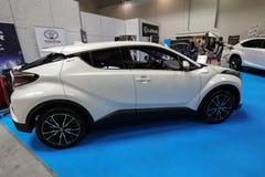 Toyota C- HR hybryd wystawiający przy MOTO przedstawieniem w Krakowskim Polska obraz stock