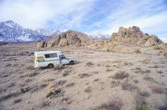 A Toyota camper truck parked in Alabama Hills, California Stock Image
