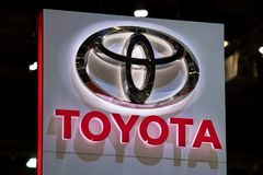 Toyota car logo at motor show. royalty free stock photo