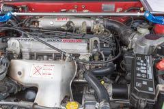 Toyota Celica motor 1987 på skärm Royaltyfri Foto