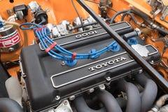 Toyota Celica motor 1972 på skärm Arkivfoton
