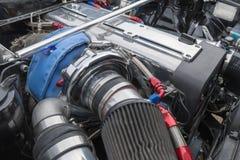Toyota Celica motor 1972 på skärm Fotografering för Bildbyråer