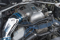 Toyota Celica motor 1980 på skärm Arkivbild