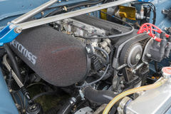Toyota Corolla motor 1986 på skärm royaltyfri bild