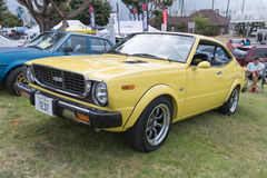 Toyota Corolla 1976 op vertoning Stock Afbeeldingen