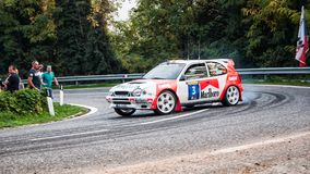 TOYOTA COROLLA WRC bieżnego samochodu stary wiec fotografia royalty free