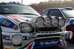 TOYOTA COROLLA WRC 1998 w starym bieżnego samochodu wiecu legenda 2017 obrazy royalty free