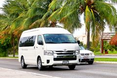 Toyota Hiace. Cancun, Mexico - June 4, 2017: White passenger van Toyota Hiace in the city street royalty free stock photography