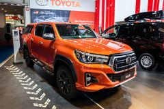 Toyota Hilux commercial vehicle. BRUSSELS - JAN 18, 2019: Toyota Hilux commercial vehicle showcased at the 97th Brussels Motor Show 2019 Autosalon stock image