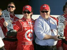 2006 Toyota Indy 300. Dan Weldon L and tean owner Chip Gnassi celebrate winning the Toyota Indy 300 at Homestead Miami Speedway in Homestead, Florida on March 26 stock photo