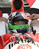2006 Toyota Indy 300. Dario Franchitti prepares for the morning practice for the Toyota Indy 300 at Homestead Miami Speedway in Homestead, Florida on March 26 stock images