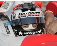 2006 Toyota Indy 300. Pole sitter Sam Hornish Jr sits in his car wating for the Toyota Indy 300 to begin at Homestead Miami Speedway in Homestead, Florida on royalty free stock photography