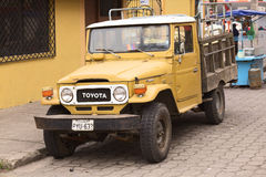 Toyota Land Cruiser in Banos, Ecuador Stock Images