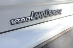 Toyota Land Cruiser Sign and Symbol Logo. It is Toyota`s longest running series of four-wheel drive vehicles models.As of 2018, the sales of the Land Cruiser stock photography