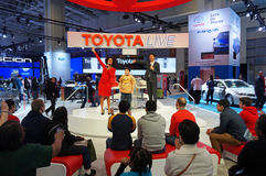 Toyota Live Show at the Auto Show. Photo of toyota live show at the washington dc auto show on 1/24/15 at the dc convention center.  This show tests the audience Royalty Free Stock Photos