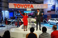Toyota Live Show Hosts. Photo of toyota live show at the washington dc auto show on 1/24/15 at the dc convention center.  This show tests the audience with Royalty Free Stock Image