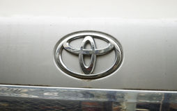 Toyota logo. Shot of Toyota logo taken on the used car Royalty Free Stock Photography