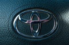 Toyota logo close up shot stock image