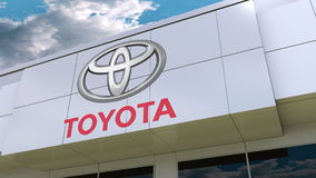 Toyota logo on the modern building facade. Editorial 3D rendering Royalty Free Stock Photography