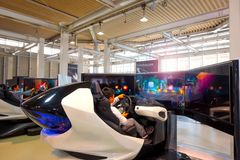 Toyota Mega Web in Odaiba in Tokyo, Japan. Tokyo, Japan - April 20 2018: Toyota Mega Web in Odaiba island is an automotive focused theme park and showroom which stock photo