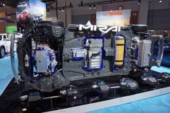 Toyota Mirai Hydrogen Fuel Cell Technology skärm Arkivbilder