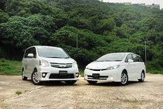 Toyota Noah and Wish Royalty Free Stock Images
