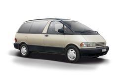 Toyota Previa złocisty kolor odizolowywający na bielu obrazy royalty free