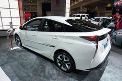 Toyota Prius blanco Imágenes de archivo libres de regalías