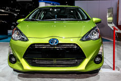 A Toyota Prius c exhibit at the 2016 New York International Auto. NEW YORK - March 23: A Toyota Prius c exhibit at the 2016 New York International Auto Show Royalty Free Stock Photo