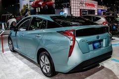 Toyota Prius Hybrydowy szczegół od frontowego reflektoru eksponata przy 2 Zdjęcia Royalty Free