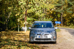 Toyota Prius 2010. KAUNAS - OCTOBER 16, 2016: Toyota Prius 2010 in Kaunas, Lithuania. The Toyota Prius is a full hybrid electric mid-size hatchback, formerly a Royalty Free Stock Image