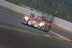 Toyota R1 LMP1 at Silverstone 6 Hours. Toyota R1 comes onto the pit straight at Silverstone royalty free stock image
